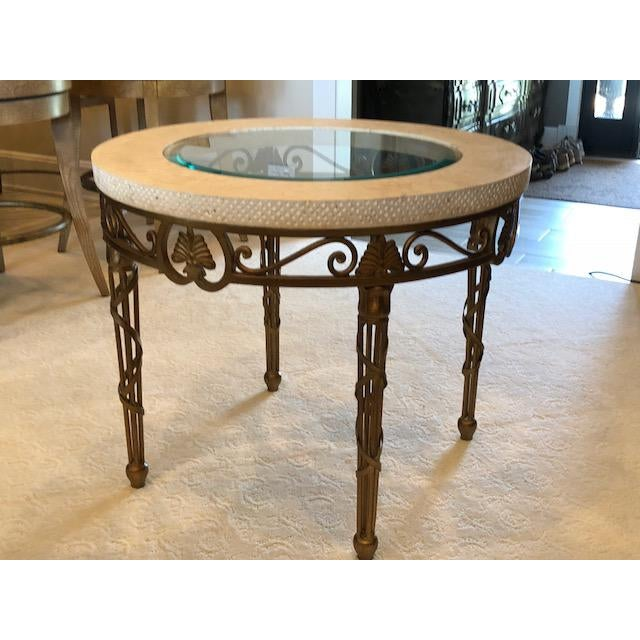 Traditional Drexel Heritage Marble, Metal, and Glass Lamp Table For Sale In Detroit - Image 6 of 8