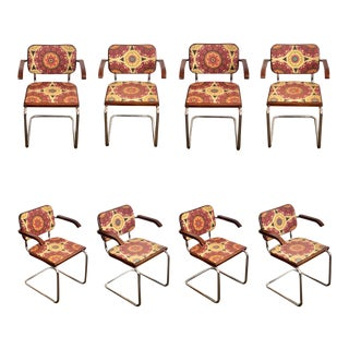 1980s Marcel Breuer for Knoll Cesca Upholstered Armchairs – Set of 8 For Sale