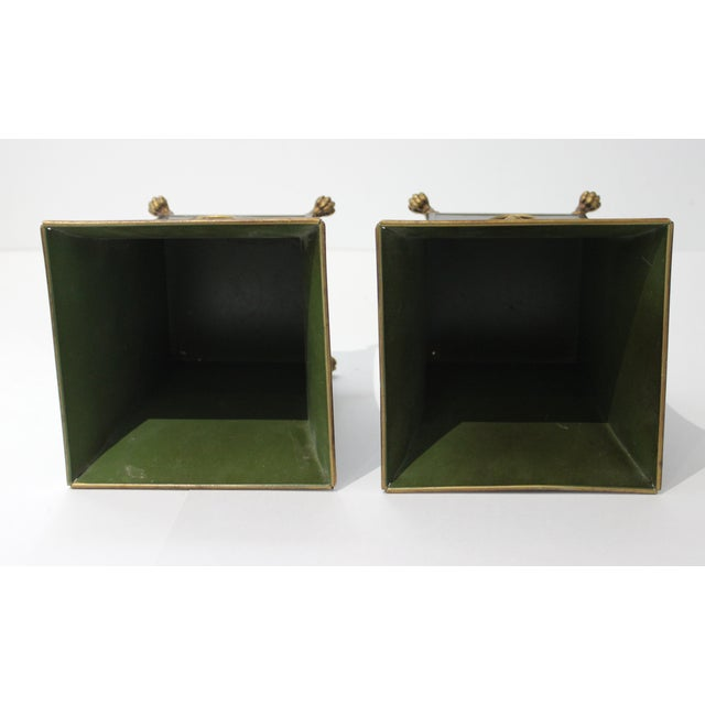 Metal Vintage Dark Green Cachepot With Lion Handles - a Pair For Sale - Image 7 of 10