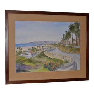 "Bonnie Sue Schwartz ""The California Incline, Santa Monica, Ca"" Watercolor Painting C.2012 For Sale"