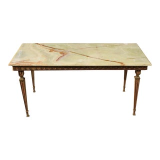 1940s French Maison Jansen Bronze & Green Onyx Top Coffee Table For Sale