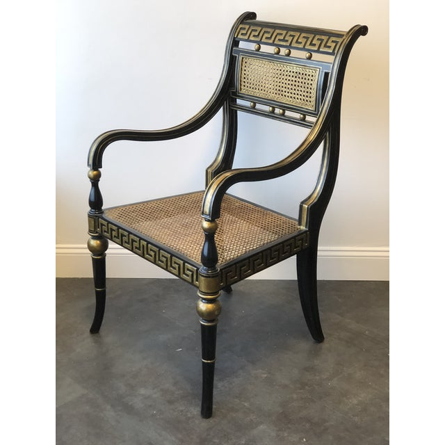Art Deco Hollywood Regency Gold & Black Greek Key Accent Chair by Maitland Smith For Sale - Image 3 of 11