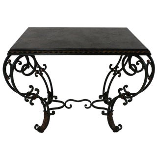 A 40's French Painted & Gilded Wrought Iron Occasional Table