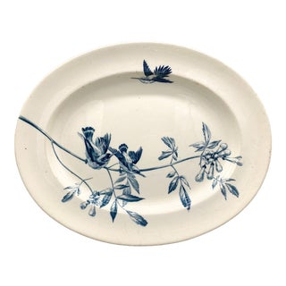 19th Century English Spode Copeland Antique White and Blue Transferware Bird Botanical Oval Platter For Sale