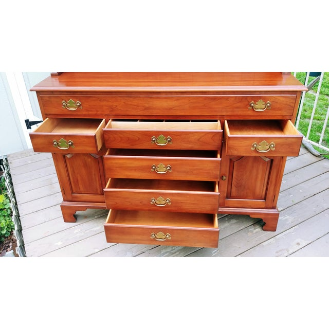Frederick Duckloe & Bros Solid Wild Black Cherry Sideboard & China Cabinet Hutch For Sale - Image 4 of 13