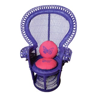 Purple Princess Wicker & Rattan Peacock Chair With Mariposa Pillows