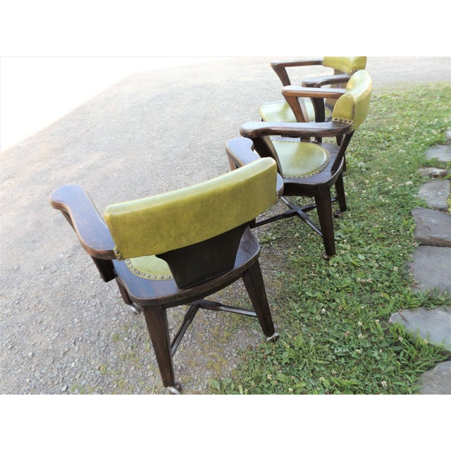Wood Wood and Avocado Vinyl Mid-Century Arm Chairs - Set of 3 For Sale - Image 7 of 13