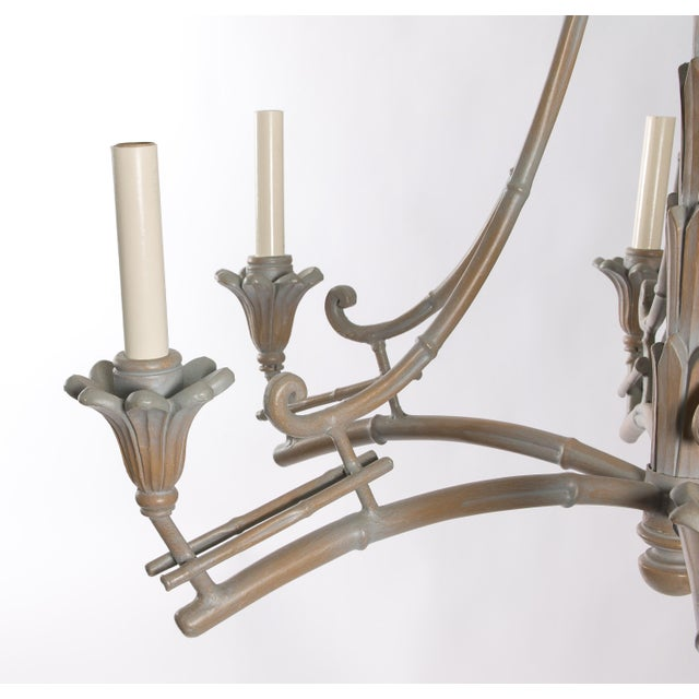 Serge Roche Style Plaster Chinoiserie Palm Chandelier - Image 6 of 7