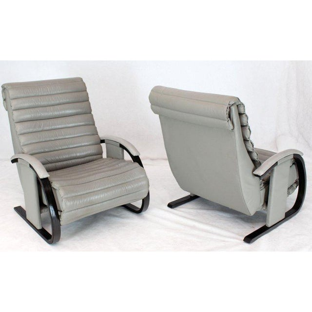 Pair of Leather Ribbed Upholstery Reclining Lounge Chairs Bent Wood Tank Style For Sale - Image 4 of 13