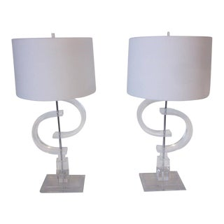Monumental Lucite Lamps - a Pair For Sale