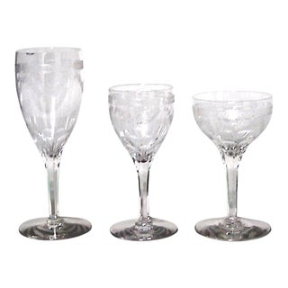 French Victorian Crystal Glass Set - Set of 15 For Sale