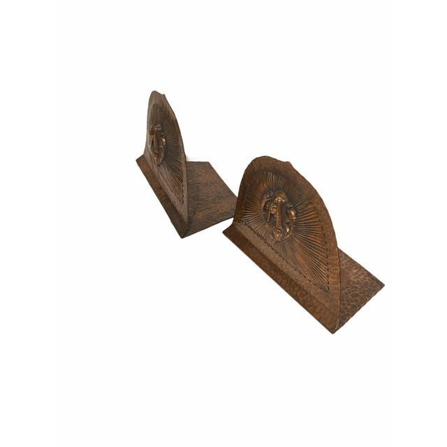 Metal Art Deco Egyptian Revival Hand Hammered Copper Bookends - a Pair For Sale - Image 7 of 11
