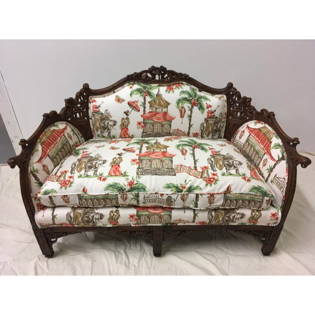 1930s Chinoiserie Carved Pagoda Settee - Image 2 of 9