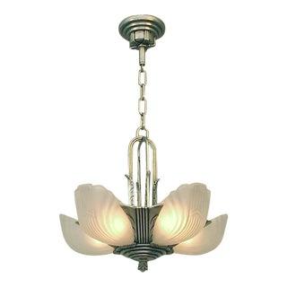 """Better Than Original"" Markel Art Deco Lighting Chandelier in Nickel For Sale"