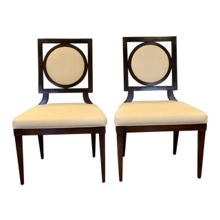 Wood and Cream Linen Chairs by Baker - A Pair
