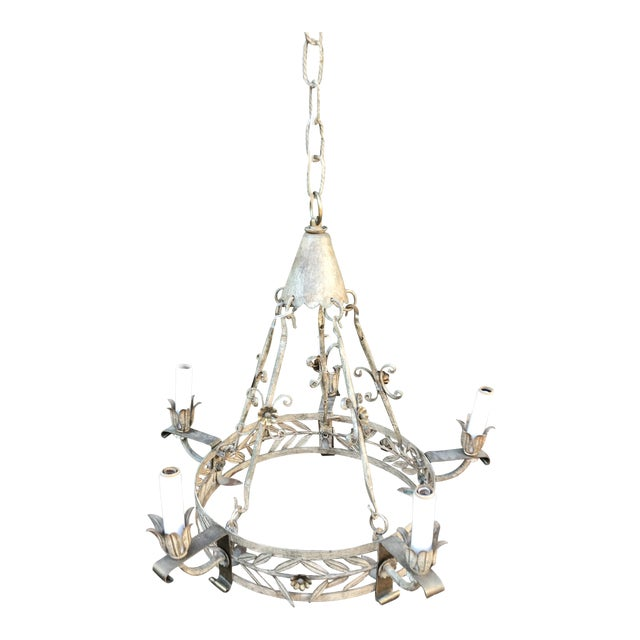 1920s Vintage Tole Neoclassical 5 Arm Chandelier For Sale