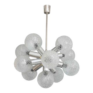 Polished Chrome and Bubble Glass Chandelier Modified Space-Age Style For Sale