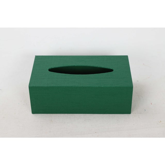 Linen covered tissue box cover painted a bright green, sized for regular tissue boxes.