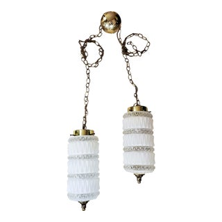 Mid-Century Modern Double Hanging Facet White Glass Lamps - a Pair For Sale