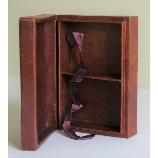 Brown Vintage French Leather Playing Card Box For Sale - Image 8 of 13