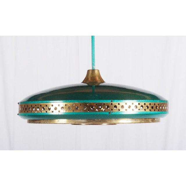 Mid-Century Brass & Steel Pendant Lamp, 1960s For Sale - Image 9 of 10
