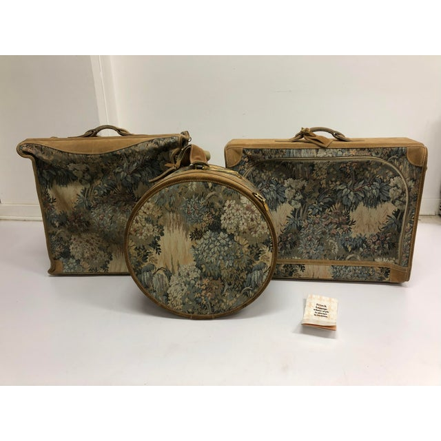 Vintage 3 Piece Tapestry Canvas & Leather Luggage Set by the French Company For Sale - Image 13 of 13