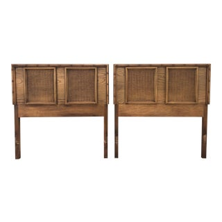 Brown Faux Bamboo Twin Headboards With Woven Insets- a Pair For Sale