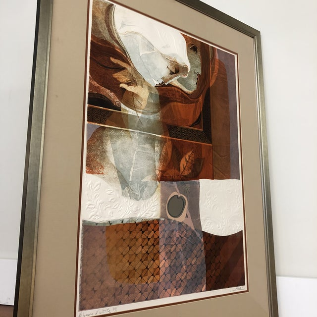 Abstract Original Sunol Alvar Embossed Artist Proof Signed Lithograph Framed With Museum Glass For Sale - Image 3 of 12