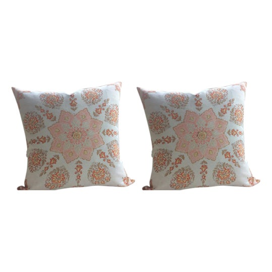 Quadrille Persepolis Pillows In Custom Melon On Camel Tint A Pair Chairish