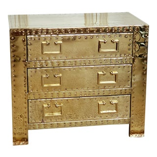 1970s Hollywood Regency Sarreid Brass 3 Drawer Chest For Sale