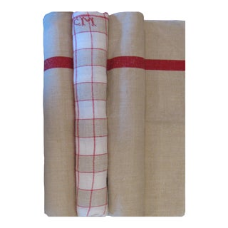 French Red & Taupe Linen Monogrammed Torchons, S/3 For Sale