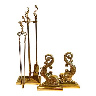 Virginia Metalcrafters Solid Brass Fireplace Set - 6 Pieces For Sale