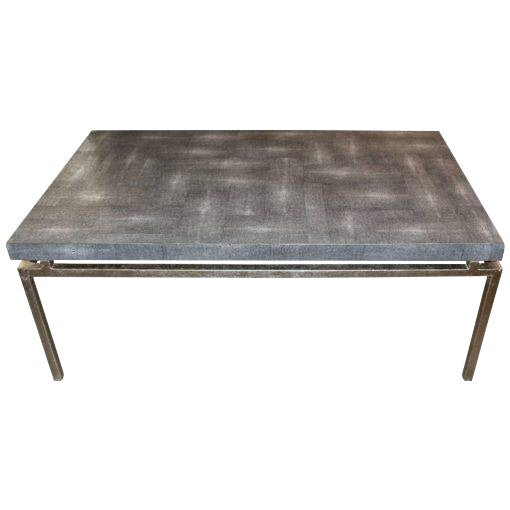Faux Shagreen and Metal Coffee Table For Sale