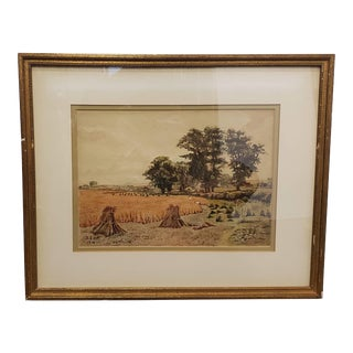 Early 19th Century Jutland Countryside Framed Watercolor Painting by r.a. Delmon (Denmark) (1814) For Sale
