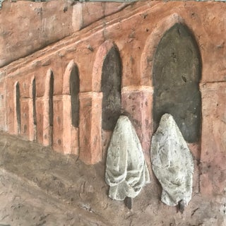 Moroccan Street Scene Terracotta Bas Relief by Marie La Varende For Sale