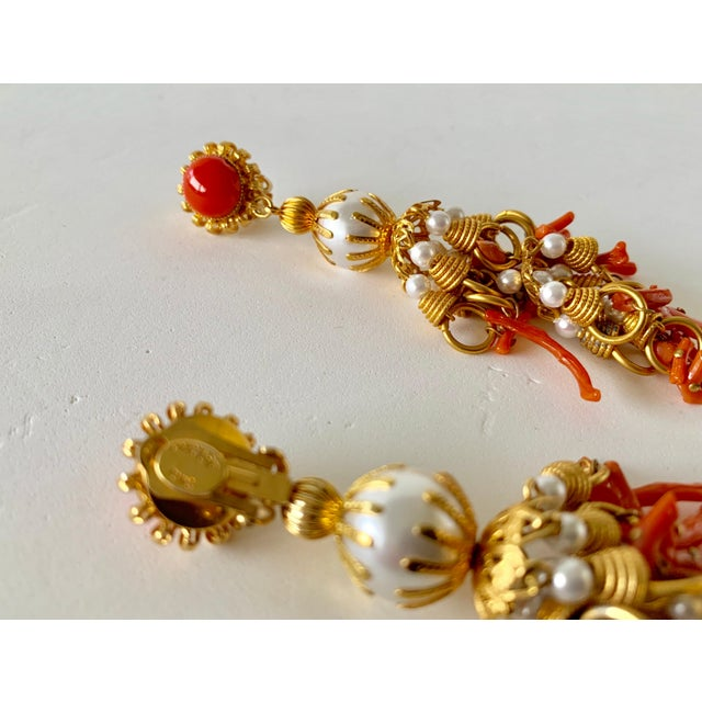 Vintage Pearl and Coral Chandelier Statement Earrings For Sale - Image 9 of 13
