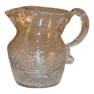 Early 19th C American Blown Glass Pitcher Eapg For Sale