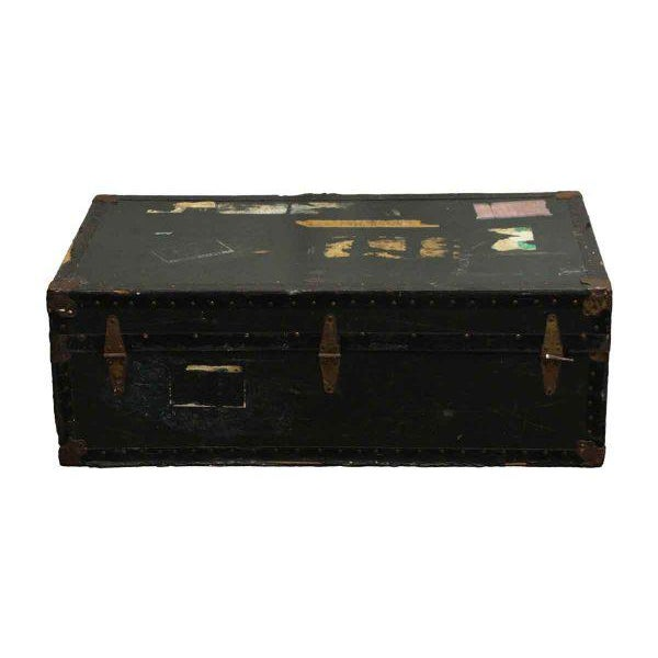 Antique Trunk With Bronze Hardware For Sale - Image 9 of 9