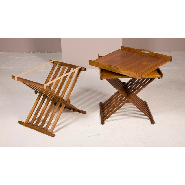 Mid-Century Modern Pair of Walnut Folding Campaign Tables by Stewart MacDougall For Sale - Image 3 of 6