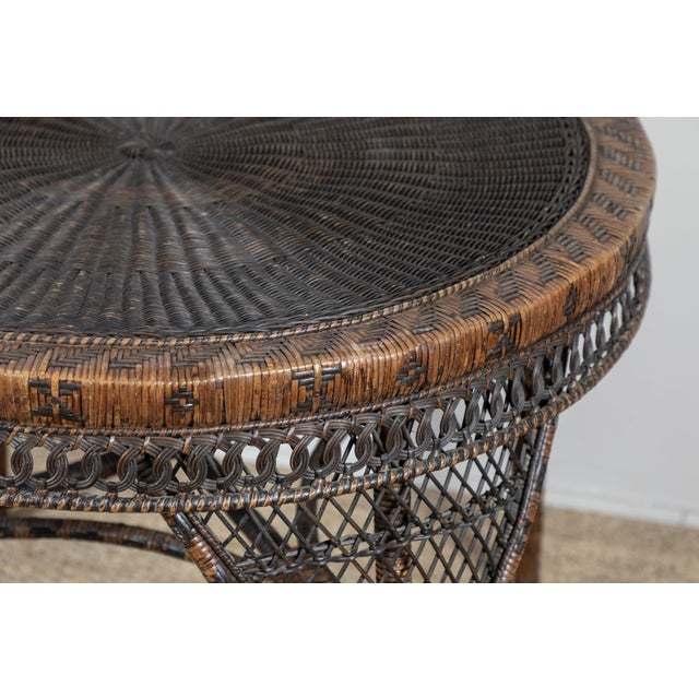 Victorian Wicker Round Side Table For Sale In Los Angeles - Image 6 of 11