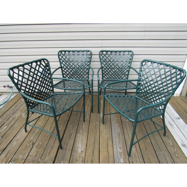 Mid-Century Modern Vintage Brown Jordan Mid-Century Green Tamiami Outdoor Chairs - Set of 4 For Sale - Image 3 of 7