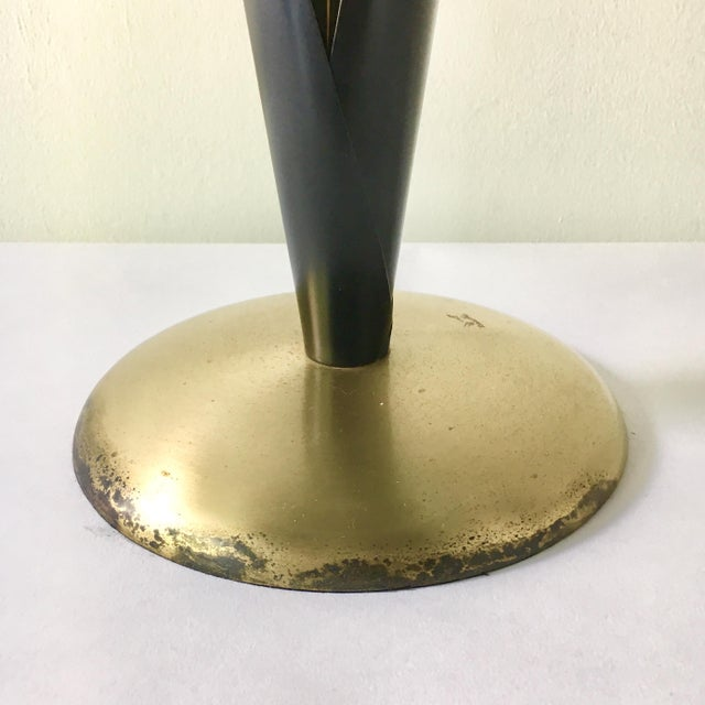 Mid-Century Modern Single Patinated Metal Sculptural Reed Table Lamp 1970s For Sale - Image 3 of 5