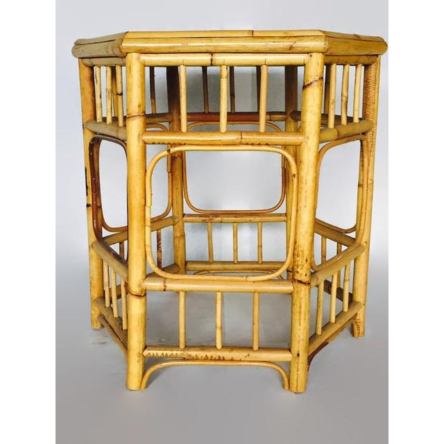 Vintage Bamboo Fretwork Side Table - Image 3 of 7