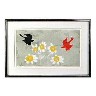 1980s Birds Folk Pop Art Etching Print Signed Mireille Kramer (Egyptian, 1932) For Sale