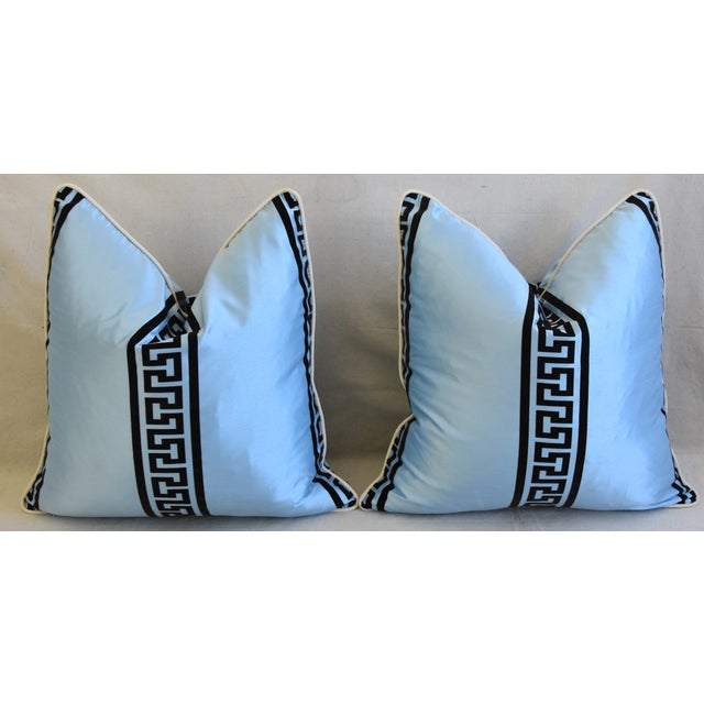 """Blue Dupioni Satin Silk Greek Key Feather/Down Pillows 23"""" Square - Pair For Sale In Los Angeles - Image 6 of 13"""