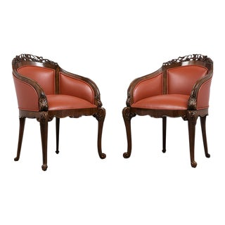 Pair of Traditional 19th Century English Chinoiserie Style Leather Bergeres For Sale