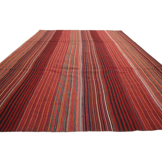 Rustic 1960s Vintage Turkish Jajim Kilim Flat-Weave Rug - 8′4″ × 10′7″ For Sale - Image 3 of 6