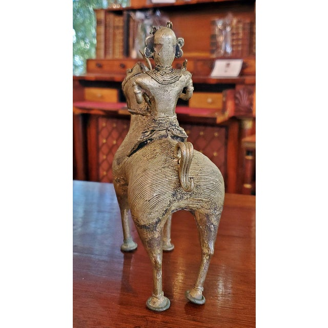 Antique Indian Dhokra Horse and Rider Sculpture For Sale - Image 4 of 11