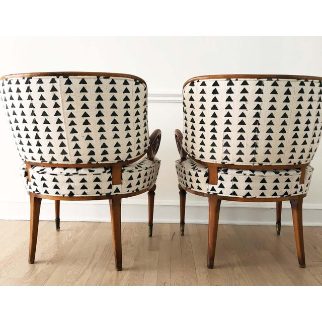 Modern Vintage Black & White Upholstered Arm Chairs - A Pair For Sale - Image 3 of 13