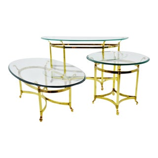 Vintage Maison Jansen Style Brass & Glass Living Room Tables - Set of 3 For Sale
